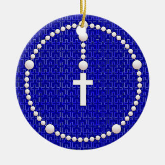Rosary with Cross Pattern Ceramic Ornament