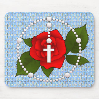 Rosary with Cross Pattern Mouse Pad