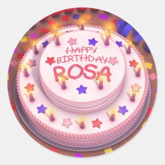 Rosa's Birthday Cake Round Sticker