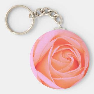 Rose 013R Pink Basic Round Button Keychain