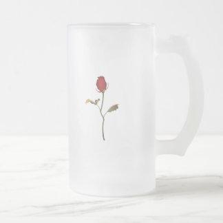 Rose 16 Oz Frosted Glass Beer Mug