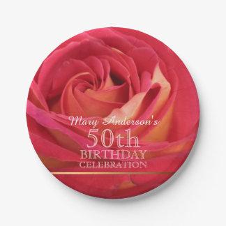 Rose 50th Birthday Celebration Paper plates -2-