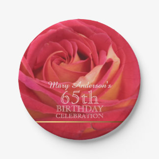 Rose 65th Birthday Celebration Paper plates -2- 7 Inch Paper Plate