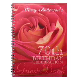 Rose 70th Birthday Celebration Custom Guest Book