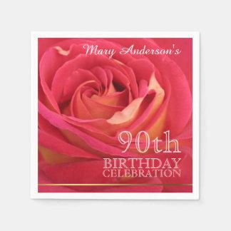 Rose 90th Birthday Celebration Paper Napkins -2-