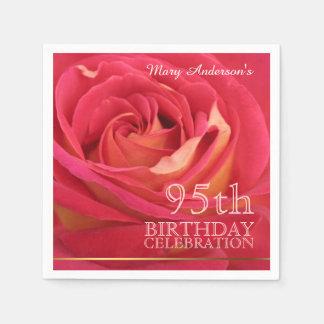 Rose 95th Birthday Celebration Paper Napkin 2