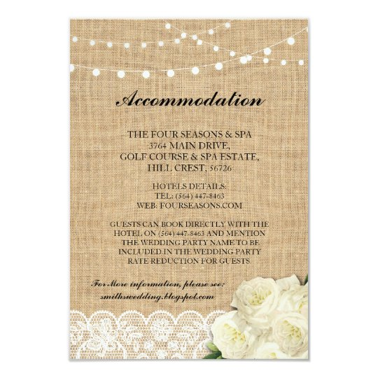 Rose Accommodation Burlap Lights Wedding Cards