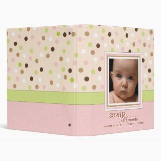 Rose + Album photos vert de bébé de point Classeur 3 Anneaux