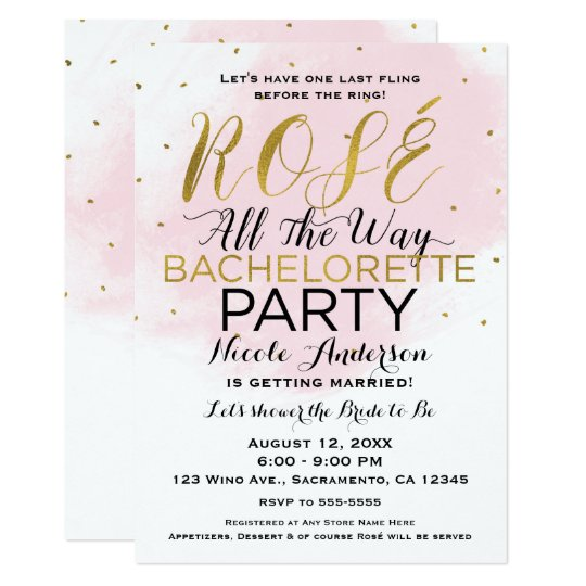 Rosé All the Way Bachelorette Party Pink & Gold Card