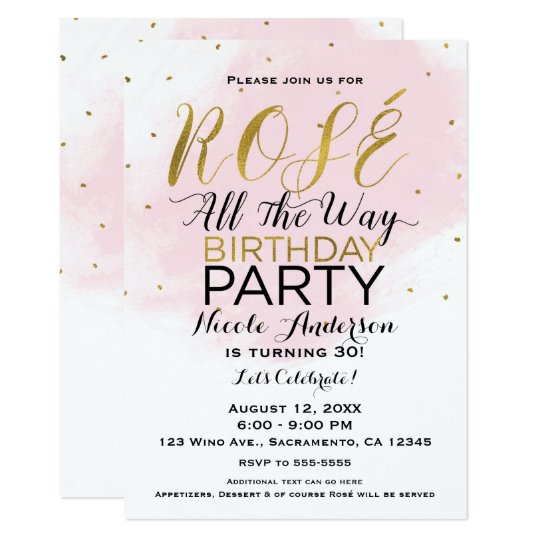 Rosé All the Way Birthday Party Pink & Gold Card