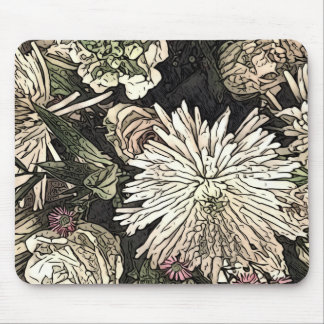 Rose and chrysanthemum bouquet mouse mat