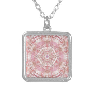 Rose and coral pink mandala silver plated necklace