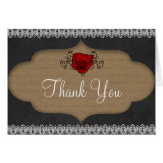 Rose and Filigree Elegant Thank You Note Card