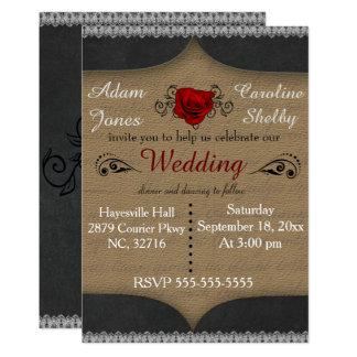 Rose and Filigree Elegant Wedding Invitation