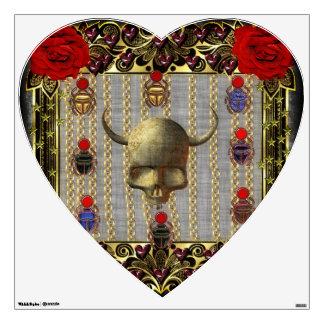 Rose and Golden Skull Wall Sticker