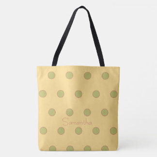 Rose and Green Polka Dots on Yellow Personalized Tote Bag