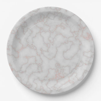 Rose and Grey Marble Paper Plate