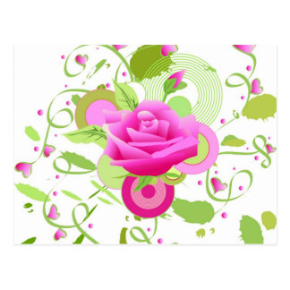 Rose and hearts postcard
