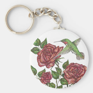 Rose and Hummingbir Keychain
