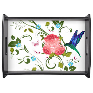 Rose and Hummingbird Serving Tray