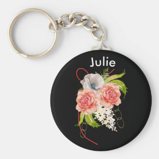Rose and Red Beads Bouquet Basic Round Button Keychain