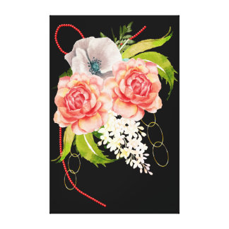 Rose and Red Beads Bouquet Canvas Print
