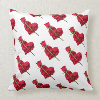 Rose and Rose Petals Heart Pattern Throw Pillow
