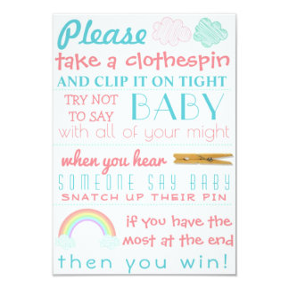 Rose and Teal Baby Shower Activity Card
