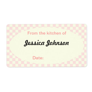 Rose and Yellow Checkered Kitchen Shipping Label