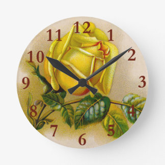 Rose Antique Yellow Flower Round Clock