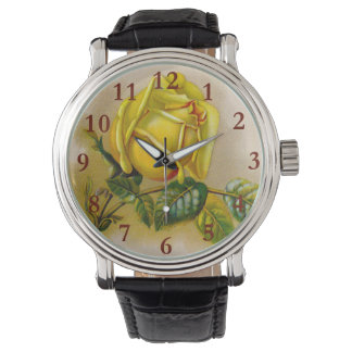 Rose Antique Yellow Flower Watch