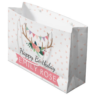 Rose Antlers & Party Bunting Girl's Birthday Large Gift Bag
