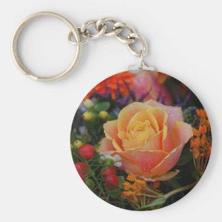 Rose Basic Round Button Keychain