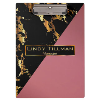 Rose, Black and Gold Marble Design Clipboard