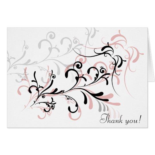 Rose Black Swirls Thank You Card