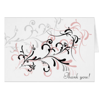 Rose Black Swirls Thank You Note Card