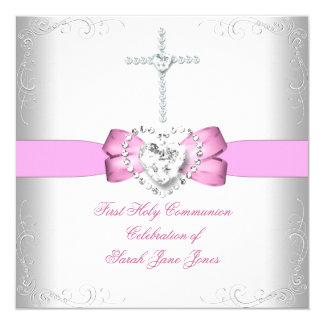 Rose blanc de première sainte communion de fille carton d'invitation  13,33 cm