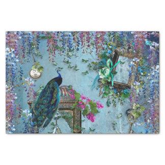 Rose bleu de lavande de glycines de jardin de paon papier mousseline