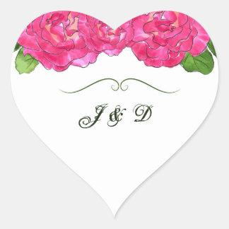 Rose Bloom Envelope Seal Heart Sticker