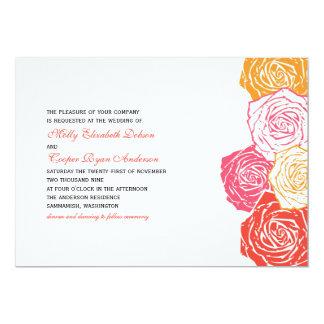 "Rose Blossom Wedding Invitation 5"" X 7"" Invitation Card"