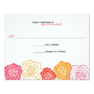 "Rose Blossom Wedding Response 4.25"" X 5.5"" Invitation Card"