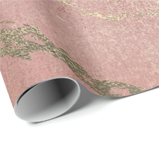 Rose Blush Foxier Gold Marble Metallic Peach Coral Wrapping Paper