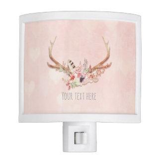 Rose Blush Pink Floral Deer Antlers Boho Chic Glam Night Light