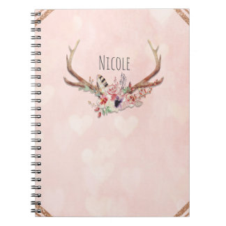 Rose Blush Pink Floral Deer Antlers Boho Chic Notebooks
