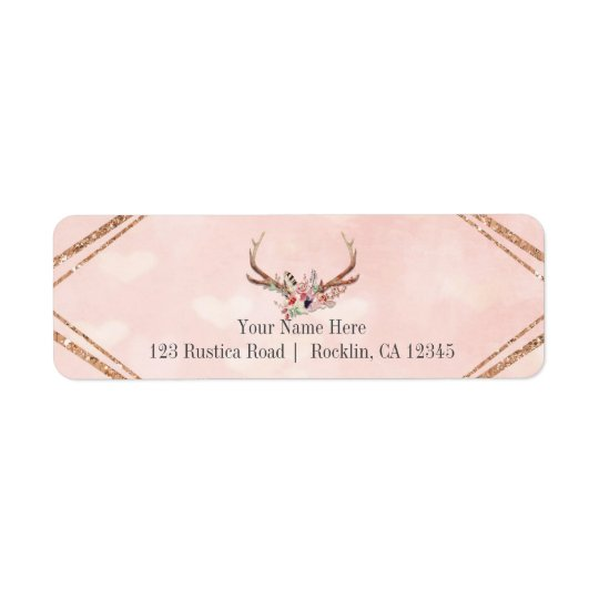 Rose Blush Pink Floral Deer Antlers Boho Chic Return Address Label