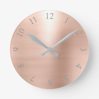 Rose Blush Pink Glitter Gray Silver US UK Numbers Round Clock