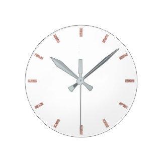 Rose Blush Pink White Delicate Minimal Glitter Round Clock