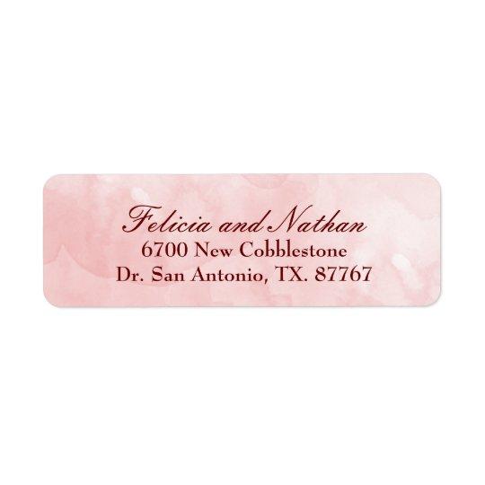 Rose Blush Watercolor Wedding Custom Return Address Label