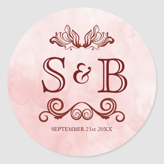 Rose Blush Watercolor Wedding Monogram Classic Round Sticker