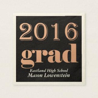 Rose Bold 2016 Grad Typography Black Paper Napkin
